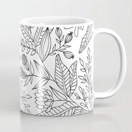 Wildflower Pattern - Black and White Coffee Mug