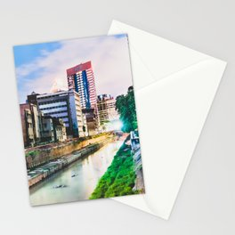 On going rapid urbanization leads to river pollution. Stationery Cards