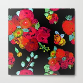 Watercolor Bouquet Floral in Black + Red Metal Print