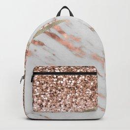 Shimmering rose gold with rose gold marble Backpack