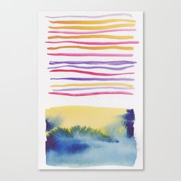27   |181026 Lines & Color Block | Watercolor Abstract | Modern Watercolor Art Canvas Print
