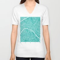 paris map V-neck T-shirts featuring Paris map turquoise by Maps_art