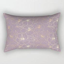 Faux Gold & Mauve Hibiscus Rectangular Pillow