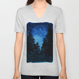 Blue Sky - Evergreen Trees Unisex V-Neck