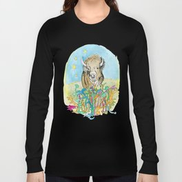 Twilight Pasture with Buffalo Long Sleeve T-shirt