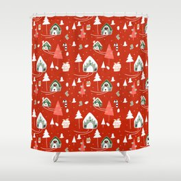 gingerbread house red #Christmas #Holiday Shower Curtain