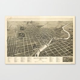 Vintage Pictorial Map of South Bend IN (1890) Canvas Print