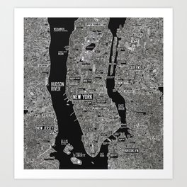 Cool New York city map with street signs Art Print