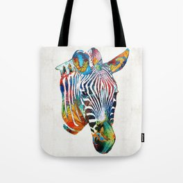 Colorful Zebra Face by Sharon Cummings Tote Bag