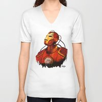 iron maiden V-neck T-shirts featuring Iron by DUBELYOO