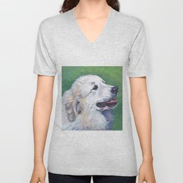 Great Pyrenees dog portrait art from an original painting by L.A.Shepard Unisex V-Neck