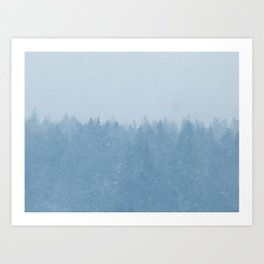 Foggy Blue Fores Art Print