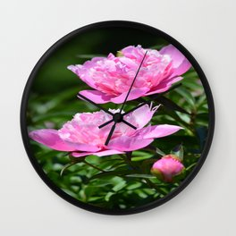 Pink Peony Pair Flower Photography - Bring the Outdoors In Wall Clock