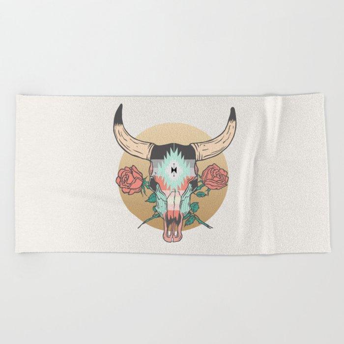 cráneo de vaca Beach Towel