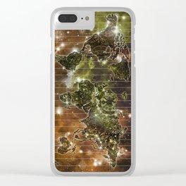 WORLD MAP MANDALA SPACE 3 Clear iPhone Case