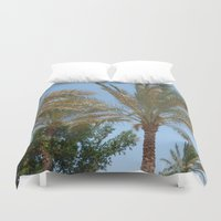 palm trees Duvet Covers featuring Palm Trees by MehrFarbeimLeben