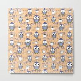 Orange & Blue Owls pattern Metal Print