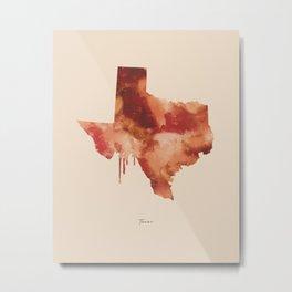 Texas Watercolor State Metal Print
