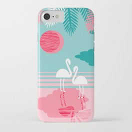 Chill Vibes - memphis retro throwback 1980s 80s neon pop art flamingo paradise socal vacation iPhone Case