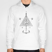 deathly hallows Hoodies featuring Deathly Hallows (White) by Mírë