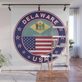 Delaware, Delaware t-shirt, Delaware sticker, circle, Delaware flag, white bg Wall Mural