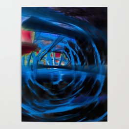 Energetic dark blue and red spiral Poster