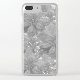 POINSETTIA WHITE SPARKLE TWINKLE PATTERN Clear iPhone Case