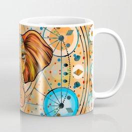 Colorful Elephant on Sacred Geometry Ornament Coffee Mug