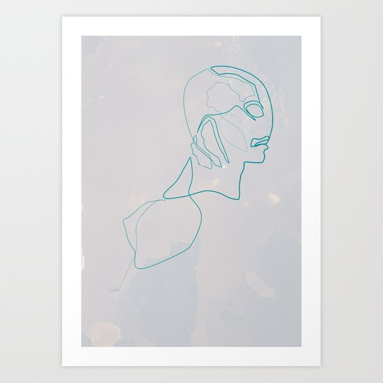 One Line Abe Sapien Art Print
