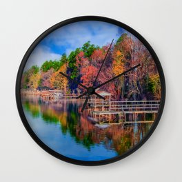 Autumn on the Lake Wall Clock