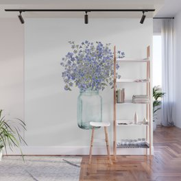 Hand Painted Scandinavian Watercolor Forget Me Not Bouquet Wall Mural