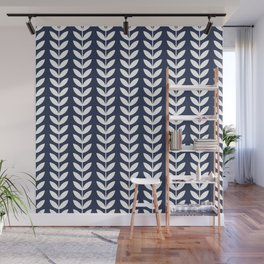 Navy Blue and White Scandinavian leaves pattern Wall Mural