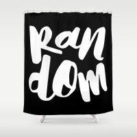 random Shower Curtains featuring Random by Word Quirk
