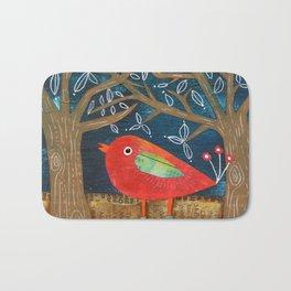 Red Bird in Galoshes Bath Mat