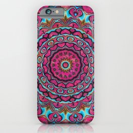 Pink and blue hearts mandala iPhone Case