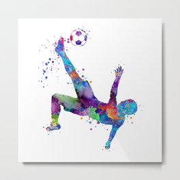 Bicycle Kick Soccer Boy Art Watercolor Gift Metal Print