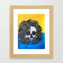 Skull and Sunflowers Framed Art Print