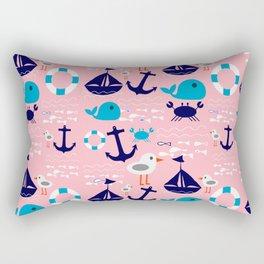 Summer boat pink Rectangular Pillow