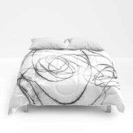 Black and White Minimalist Abstract Line Drawing Comforters