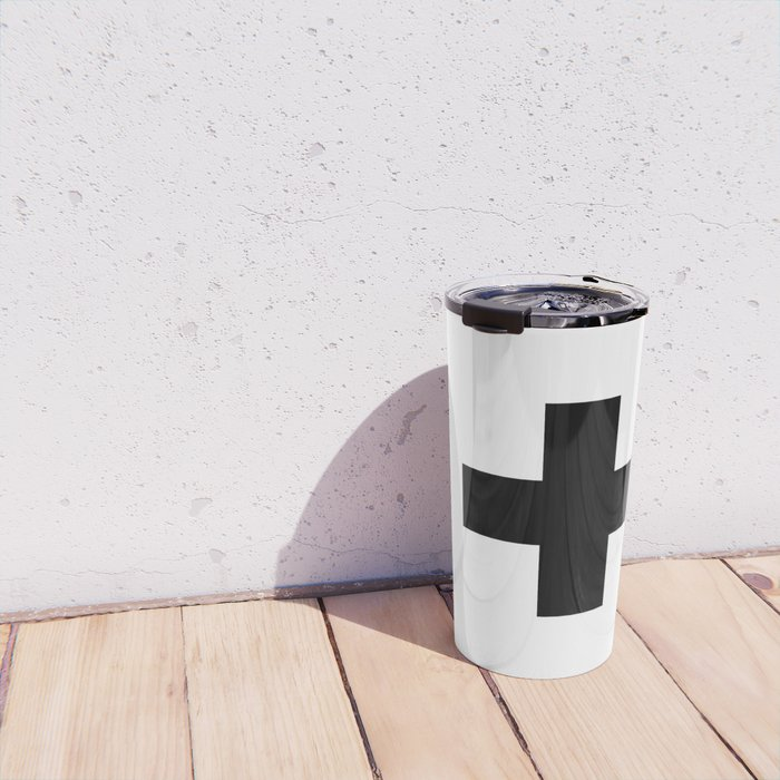 Swiss Cross white and black Swiss Design for minimalist home room wall art decor for apartment Travel Mug