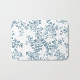 Vintage blue white bohemian elegant floral Bath Mat