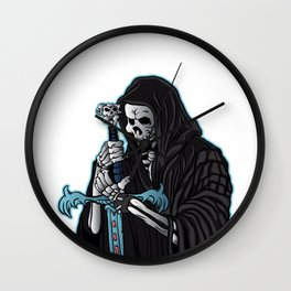 grim reaper with sword .grim reaper tattoo. Wall Clock