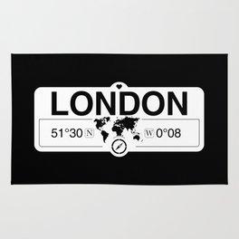 London England GPS Coordinates Map Artwork with Compass Rug
