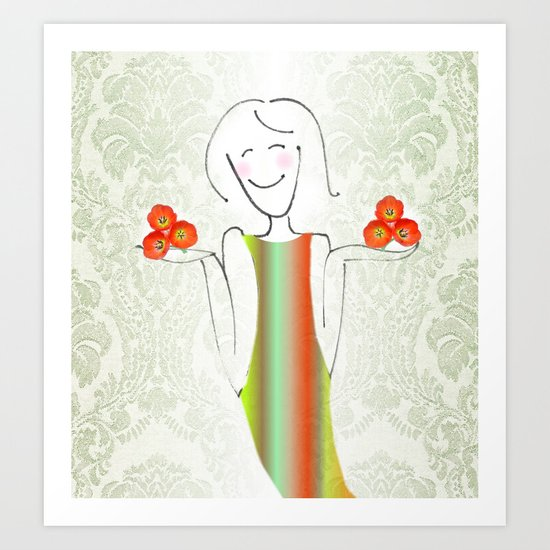 She brings tulips. Art Print