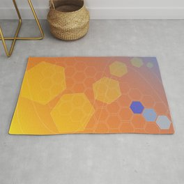 Hexagon background - hot gradients Rug