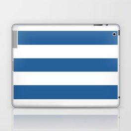 Lapis lazuli - solid color - white stripes pattern Laptop & iPad Skin