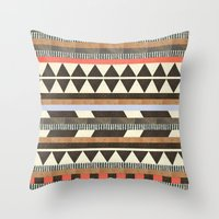 brown Throw Pillows featuring DG Aztec No.1 by Dawn Gardner