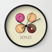 donuts Wall Clocks featuring Donuts by Monstruonauta