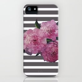Painted Pink Peonies on Striped Background iPhone Case