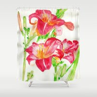 hot pink Shower Curtains featuring Hot Pink by Kate Havekost Fine Art